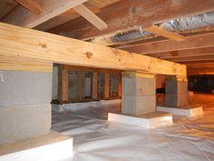 #Crawlspace Helper #Beam to prevent the joists from sagging. http://www.indianacrawlspacerepair.com/crawl-space-structural-floor-repairs/