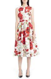 Dolce&Gabbana Poppy & Daisy Print Cotton & Silk Dress