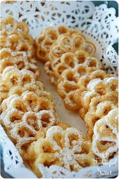 """Scandinavian Rosettes Recipe is part of Rosette recipe Pretty, aren't they These delicate, crisp, lightly sweetened Scandinavian Rosettes are as delicious as they are beautiful The """"cookies"""" - Rosette Cookies, Rosettes Cookie Recipe, Holiday Baking, Christmas Baking, Cookie Recipes, Dessert Recipes, Recipes Dinner, Jello Desserts, Easter Desserts"""
