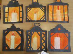 herbst basteln mit kindern fensterbilder pevzato do Alena Jikov Primary School Art, Elementary Art, Classroom Art Projects, Art Classroom, Letter D Crafts, Lantern Crafts, Art For Kids, Crafts For Kids, Winter Art