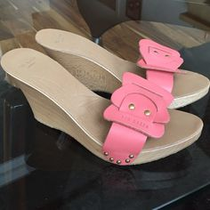 Ted Baker London Wood wedge w/ pink leather strap Ted Baker London wedge heels Sz 8.5 (bottom of shoe says 40, I wear an 8.5 and these fit me. If these were a 40/10 they'd be HUGE on me!!! - if you're an 8.5 they will fit). Ted Baker Shoes Wedges