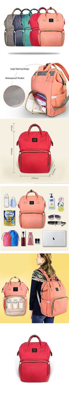 8f23cdf11 Huluwa Diaper Bag Multi-Function Waterproof Travel Backpack Nappy Bags for  Baby Care, Large Capacity, Stylish and Durable, Red