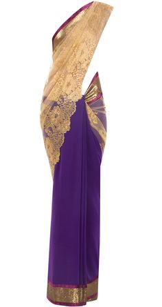 Purple and gold chantilly lace sari. Seriously I wish I was Indian so I could wear sari's all the time! Guilty of being jealous of my Indian friends who have closets full of these beautiful gowns. Indian Dresses, Indian Outfits, Indian Clothes, Ethnic Outfits, Indian Attire, Indian Wear, Beautiful Saree, Beautiful Dresses, Bridesmaid Saree