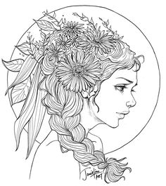 A new line art to celebrate the end sale of my Friends of Nature Colouring Book. They are almost sold out, just a few books left. Thank you all soooo mu. Thank You! Fairy Coloring Pages, Coloring Pages To Print, Adult Coloring Pages, Coloring Books, Pinterest Pinturas, Woman Drawing, Fabric Painting, Colorful Pictures, Line Art
