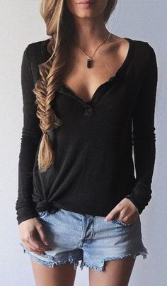 Black Long Sleeve T-Shirt (Long Sleeve Fall Top)