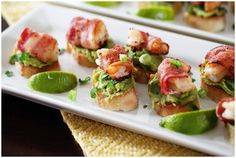 Bacon Wrapped Shrimp Appetizer With Avocado On Garlic Toast - The Everyday Mom Life Clean Eating Snacks, Healthy Snacks, Tapas, Best Avocado Recipes, Low Carb Salad Dressing, Bacon Wrapped Shrimp, Pizza Snacks, Shrimp Appetizers, Dinner Party Recipes