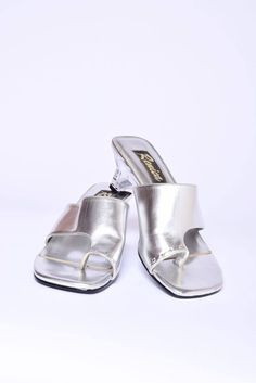 483f0d7fc3f1 Silver Faux Leather Sandals   Vintage 70 s Shoes with Clear Transparent  Plastic Heels