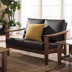 Baxton Studio Phanessa Mid-century Modern Dark Brown Faux Leather Loveseat