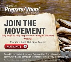 Easy Ways to Prepare Your Family for Disasters - It's FREE. Join the America's PrepareAThon Webinar April 16, 2015 2PM Eastern | PreparednessMama
