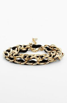 faux suede woven chain wrap bracelet -- comes in black, orange, brown, white, turquoise {40% off now during Nordstrom's Half Yearly Sale!}