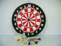 Vintage Sportcraft Two-Sided Wood Dart Board Game with 6 Brass Darts - New in Box / Never Used Retro GameRoom Colorful Man Cave Wall Hanging $59.00 by DivineOrders