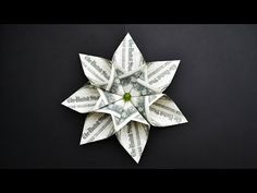 Beautiful Money ROSE with stem and leaf Origami Flower Dollar Tutorial DIY Folded No glue and tape Origami Money Flowers, Origami Rose, Origami Stars, Origami Gifts, Diy Origami, Origami Paper, Origami Folding, Oragami, Easy Money Origami