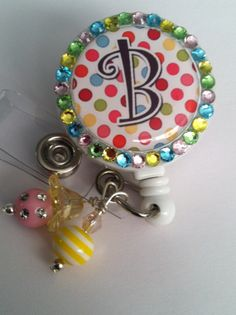 Colorful Floral Chevron ID REEL BLING BADGE HOLDER with Charm Nurse RN LPN CNA