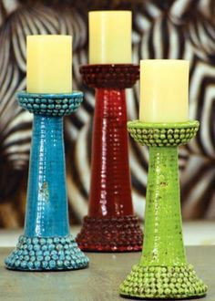 set of three ceramic colorful beaded pillar stands | AWE