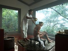 The People of the Rainforest. The Spa features the signature Gudda Bath, pictured, set in a tiny pavilion with expansive rainforest views—a bathing treatment unique to the Coorgi people of the rainforest, where body and spirit are soothed by water warmed in a huge wood-fired kettle. Other offerings include Panchakarma, personalized wellness journeys and a range of authentic Ayurvedic treatments.