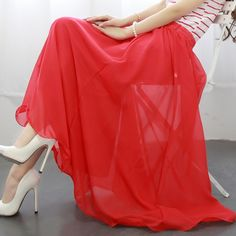 2014 spring expansion bottom chiffon bust skirt mopping the floor dress full female all-match solid color pleated yarn skirt