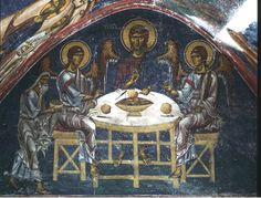 12th century fresco of the Hospitality of Abraham, Monastery of St John the Evangelist, Patmos