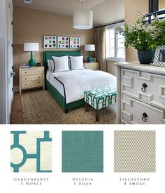The Guest Bedroom the the HGTV SmartHome 2014 showcases a simple geometric lines.