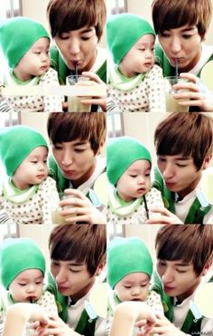 Leeteuk and Kyu Min. He looks like such a good dad. Forget the baby. Give me Leeteuk