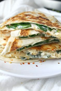 Two favorite snacks are combined into one with these Vegan Spinach Artichoke Quesadillas. These are ooey, gooey and super delicious. I recently shared my recipe for Baked Spinach Artichoke Dip. Mexican Food Recipes, Vegetarian Recipes, Cooking Recipes, Healthy Recipes, Skillet Recipes, Cooking Tools, Cooking Time, Vegan Vegetarian, Diet Recipes