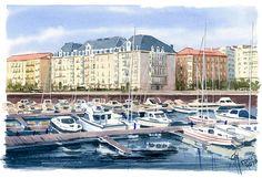 Acuarela, 24 x 16 cm Small port, Santander. Watercolor 24 x 16 cm. Landscapes, New Homes, Illustrations, Watercolor, Mansions, Portrait, House Styles, Places, Water Colors