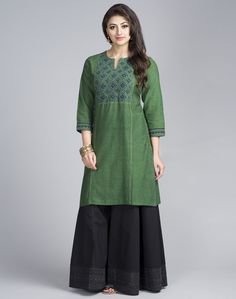 Cotton Mangalgiri Yoke Applique Mini Kurta