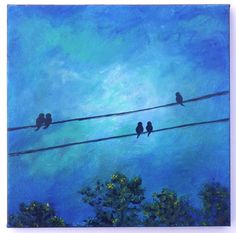 Bird on a wire painting deep cobalt blue and by PastelPond on Etsy