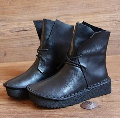 83a6260b Handmade Black Women Leather BootsOxford Retro Women Shoes Flat Soft  ShoesFall BootsPersonal Style Boots Ankle Boots Booties by HerHis