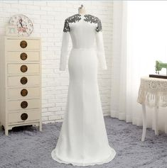 Long White Mermaid Chiffon With Lace Mother Of The Bride Dress - Uniqistic.com