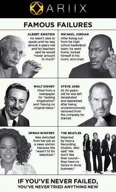 If you've never failed, you've never tried anything new.........