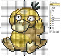 He's just so freaking cute!!! Psyduck Pokemon free cross stitch pattern