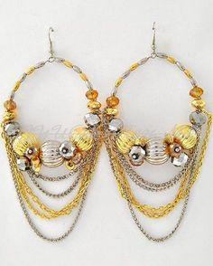 "4-1/2"" LONG GOLD SILVER BEADED DRAPING CHAINS BEADED LONG EARRINGS HOOP DANGLE #FASHIONJEWELRY #DropDangle"