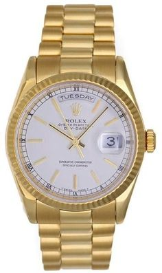 Rolex President Day-Date 118238 18K Yellow Gold White Dial 36mm Mens Watch