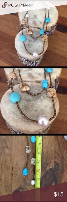 "Necklace Lia Sophia long Necklace. Turquoise and stone look on beads. Measures approx. 17.5"". Lia Sophia Jewelry Necklaces"