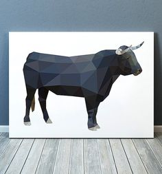 Beautiful Torro art for your home and office. Lovely Bull print. Nice modern Animal print. Cute Geometry poster. SIZES: A4 (8.3 x 11) and A3 (11.6
