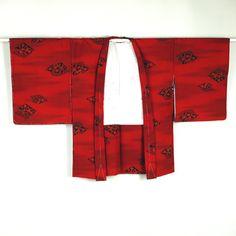 Red, vintage haori coat /【羽織り】未使用品/リサイクル着物/赤色地/朱色/化繊/花柄/植物柄 http://www.rakuten.co.jp/aiyama/