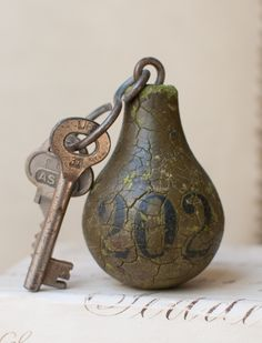 heavy pear-shaped key fob from the Grand Hotel Krasnapolsky in Amsterdam.