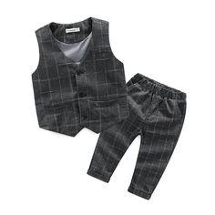 KIMOCAT 2016 children's leisure clothing sets kids baby boy suit vest gentleman clothes for weddings formal clothing vest+pants