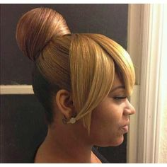 bun and bang hairstyles for black women - Google Search | Gorgeous... ❤ liked on Polyvore