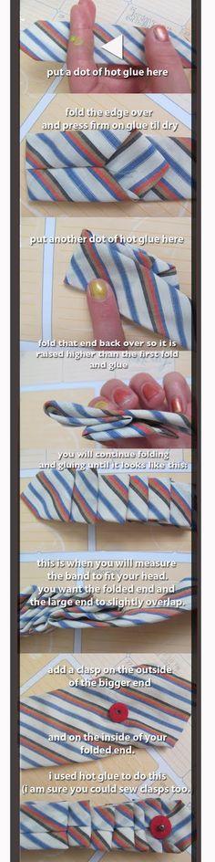 Necktie to headband: no-sew project