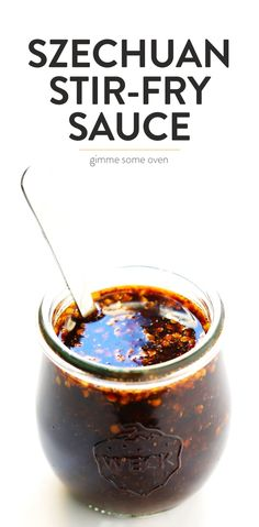 This Spicy Szechuan Sauce recipe is quick and easy to make, and perfect. - This Spicy Szechuan Sauce recipe is quick and easy to make, and perfect for a stir-fry or - Wok Sauce, Marinade Sauce, Spicy Stir Fry Sauce, Chinese Stir Fry Sauce, Stir Fru Sauce, Stir Fry Seasoning, Vegan Stir Fry, Gimme Some Oven, Chutneys