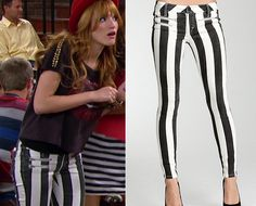 "Cece Jones (Bella Thorne) wears these Bebe Striped Multi Zip Skinny Jeans on the episode of Shake it Up, ""Forward and Back it Up"""