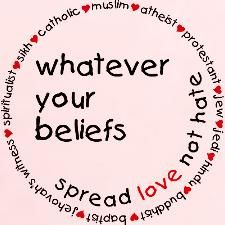 Spread love not hate - whatever your beliefs 17.99 t-shirt cafepress.com