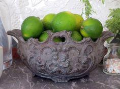 French Jardiniere Metal Planter, Small Oval Cachepot, Cast Metal Garden Jardiniere, Italian Planter