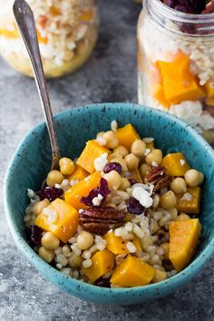 These meal prep Chickpea, Barley and Butternut Squash Lunch Bowls will actually make you excited to eat lunch!