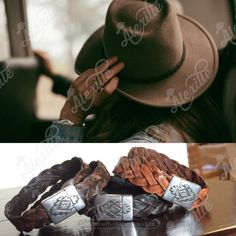 Double wrap weathered leather bracelets embellished with a magnetic clasp featuring a native American symbol Native American Symbols, Leather Bracelets, Braided Leather, Cowboy Hats, Swarovski Crystals, Beaded Necklace, Jewelry Making, Bohemian, French