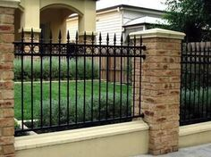 Image result for brick and iron fence ideas