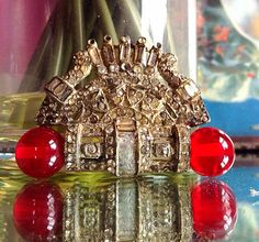 Antique Geometric/ Aztec Art Deco Brooch with Red by HUEisit