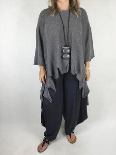 Lagenlook Saints Crop Knit in Mid Grey . code 152