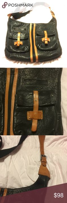 Sundance Italian Collection Handbag Black Pebbled Italian leather with cognac accents. Gently used with signs of  wear on the inside(see photos) Sundance Bags Crossbody Bags